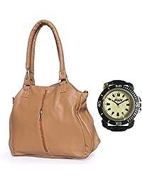 Arc HnH Women HandBag + Watch Combo - Contemporary Beige Handbag + Sports Black Watch