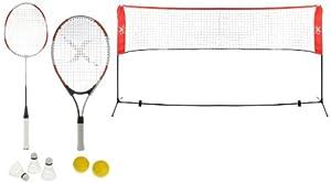 XQ Max Sportsnet Tennis Badminton Set  - Black/Red/White