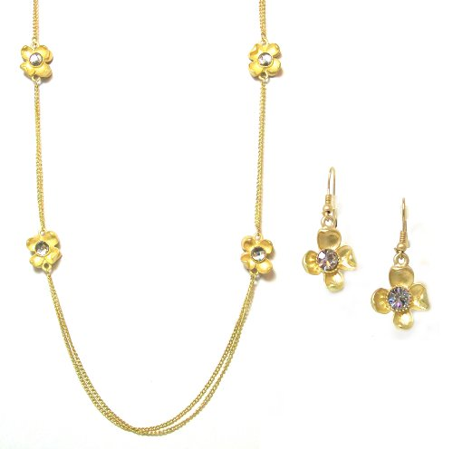Just Give Me Jewels Goldtone Double 38 Inch Chain Flower Necklace with Rhinestone Center and Matching Earrings