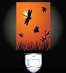 Dragonfly Autumn Sunset Decorative Night Light
