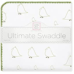 SwaddleDesigns Ultimate Receiving Blanket, Mama & Baby Chickies, Kiwi