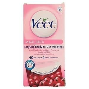 Veet Wax Strips for Normal Skin, 40 Strips