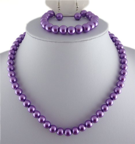 Jay Jewellery - Purple glass pearl necklace with earrings and bracelet