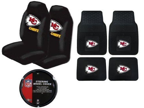 A Set of 4 NFL Universal Fit Front All-Weather Floor Mats and A Set of 2 Universal Fit Seat Covers and 1 Steering Wheel Cover - Kansas City Chiefs