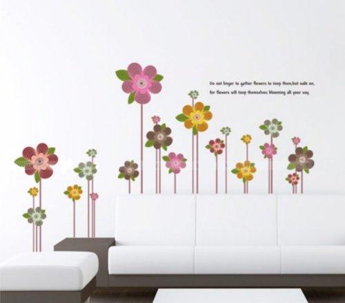 Adesivo per decorazione pareti 100x60 cm, FIORI COLORATI