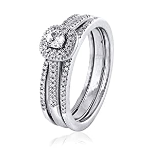 0.29 CT. 18K White Gold GH-I2 Natural White Diamond Bridal Collection Engagement Ring Set Wedding Band