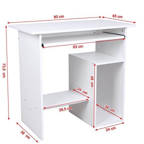 songmics computertisch mit tastaturauszug 3 regale 80 x 48 x 76 cm pc tisch f r ihren. Black Bedroom Furniture Sets. Home Design Ideas