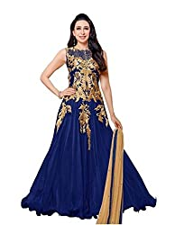Aarsh Apparel Blue Net Embroidery Anarkali Suit