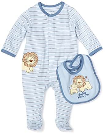 Little Me Newborn Infant Baby 100% Cotton Lion Layette Footie and bib Gift Set - Light Blue (9 Months)