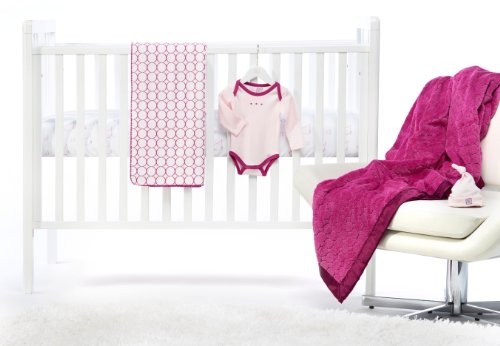 SwaddleDesigns 5 Piece Newborn Crib Bedding Set with Cozy Blanket for Parents, Very Berry, 0-3 months