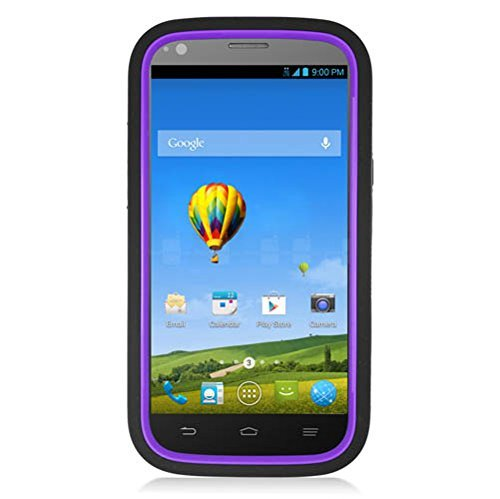 Eagle Cell ZTE Warp Sync/N9515 Skin Hybrid Case with Stand - Retail Packaging - Black/Purple (Zte Warp Sync Phone Accessories compare prices)