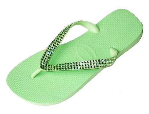 Cheap LIGHT GREEN CHRYSOLITE Swarovski Crystal Havaianas Flip Flops Sandals Thongs sizes 5-11 (B002HFMTBO)