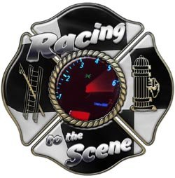Racing to the Scene Maltese Cross Firefighter Decal - 3