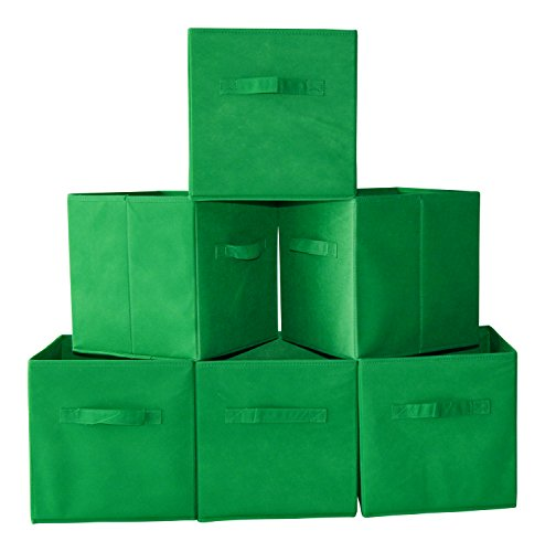 Fabric Cube Storage Bins, Foldable (Set of 6 - Green) Premium Quality Collapsible Baskets, Closet Organizer Drawers. Perfect to Store Kids Toys, Games, Books, Arts, Crafts, Office & Household Supplies (Closet Maid Small Modular Drawer compare prices)