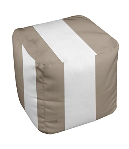 E by design Stripe Pouf, 13-Inch, 3Flax - 1