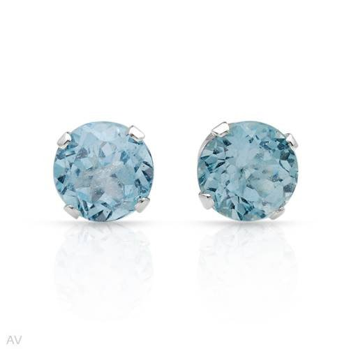 Stud Earrings With 2.00ctw Genuine Topazes in 925 Sterling silver