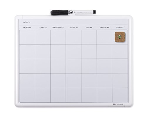 U Brands Contempo Magnetic Monthly Calendar Dry Erase Board, 11 x 14 Inches, White Frame (Marker Board Calendar compare prices)