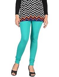 Splendora Skinny Fit Viscose 4 Way Stretchable Full Length Leggings Sea Green V Cut Free Size