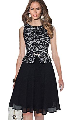 Babyonline Women Dress Casual Summer Special Occasion Lace Chiffon Wedding Dress,Black Lace,Medium