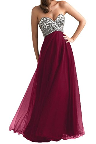 Ouman Women's Long Tulle Party Dress Prom Gown Burgundy M