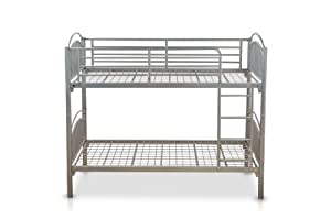 Corfu Lynton Metal Bunk Frame Single 3FT Size, 3 ft, 200 x 98 x 160 cm, 2-Piece, Silver