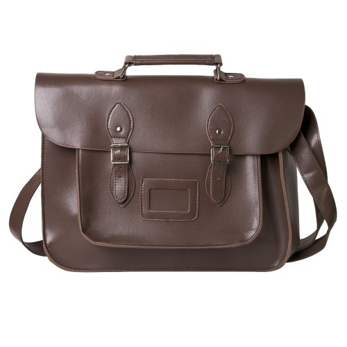 Faux Leather Traditional Vintage Style School Satchel Bag in Brown