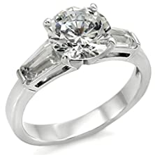 buy 316L Stainless Steel Round Solitaire Cubic Zirconia With Baguettes Engagement Ring, Size 5
