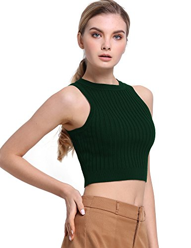 PrettyGuide Women Mock Neck Cable Ribbed Knit Racerback Crop Tank Tops Green XS