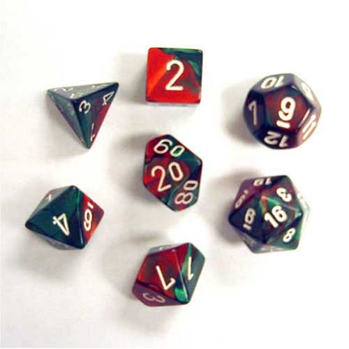 Chessex Polyhedral 7-Die Gemini Dice Set - Green-Red with White CHX-26431