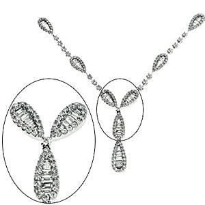 14K White Gold 3.34cttw Round Diamond Necklace