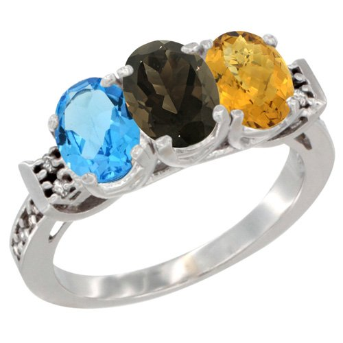 10K White Gold Natural Swiss Blue Topaz, Smoky Topaz & Whisky Quartz Ring 3-Stone Oval 7x5 mm Diamond Accent, size 6.5
