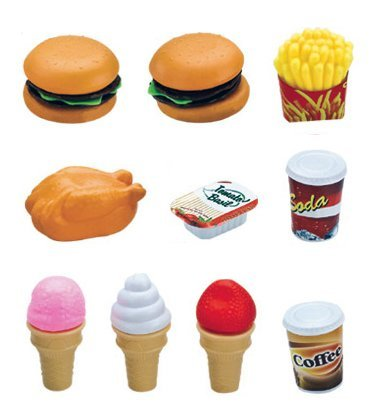 Deluxe Fast Food Lunch Play Set for Kids with Burgers, Chicken, Fench Fries, Ice Cream Dessert and Drinks