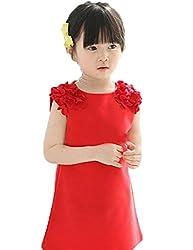 KKia Little Girls Summer Crew Neck Flower Sleeveless Dress Sundress 2-7Y