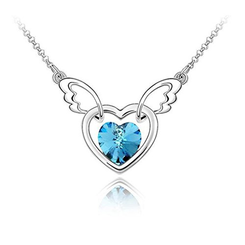 [G&T New Crystal Necklace-Angel Heart Top-Grade Collarbone Chain Pendant Inlay Crystal Necklace(C2)] (Leo Johnson Costume)