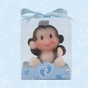 24 baby shower baby boy safari monkey candle favor in box