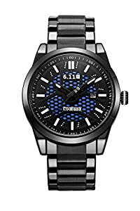 U_nique Men's GN-116 Sports Stainless Steel Solar Power Quartz Watch(Black-Black)