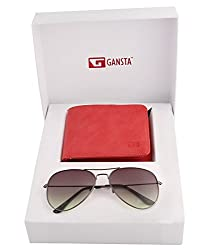 Gansta mens gift set of green lens aviator sunglasses & suede finish red wallet