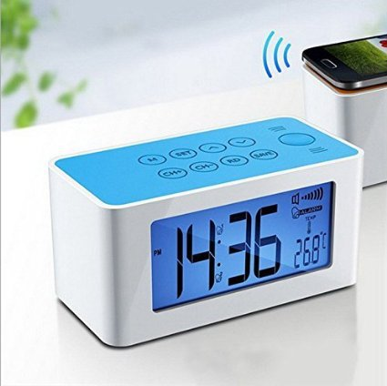 Plumeet® Inductive Wireless Speaker And FM Radio with Alarm Clock for iPhone Samsung Smartphone