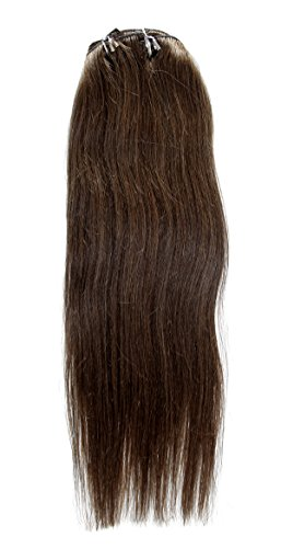 OBeauty Clip in Human Hair Extensions Natural Brazilian Remy Virgin Hair Straight #6 Chestnut Brown Medium Brown 8 pcs 120 grams (24