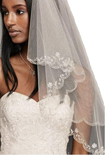 Passat Sparkly Ivory Silver Sequin Crystals Embroidery Wedding Bridal Veil 137 (2T, Light Ivory)