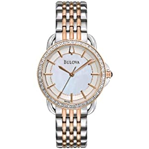 Bulova Quartz Diamond Rose and Stainless Steel Women's Watch - 98R144