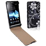 Rocina Flip Case for Sony xperia S / LT26i with Black and White Flowers Motif