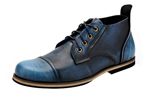 Serene Mens Fashion Leather Lace-Up Cap Toe Dress Original Ankle Desert Classic Chukka Boots (6.5 D(M)US, Dark Blue) (Silver Blue Rain Boots compare prices)