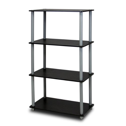 Furinno 99557BK/GY Turn-N-Tube 4-Tier Compact Multipurpose Shelf, Black/Grey (Metal Shelving Wall Unit compare prices)