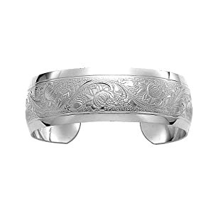 Sterling Silver Polished Embossed Cuff Bracelet