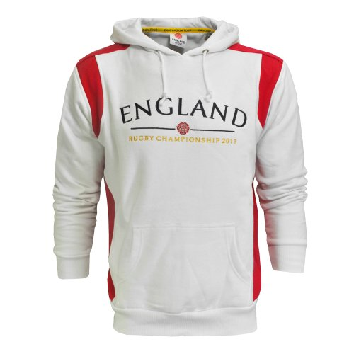 Rugby Championship 2013 England Hooded Sweatshirt White/Red Top Mens Size L