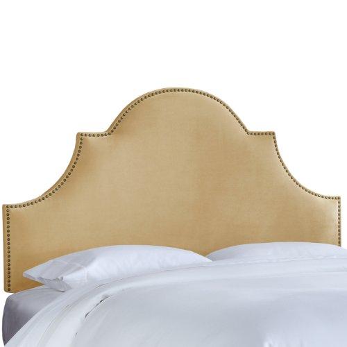 Skyline Furniture Nail Button High Arch Notched Headboard, Queen, Velvet Buckwheat