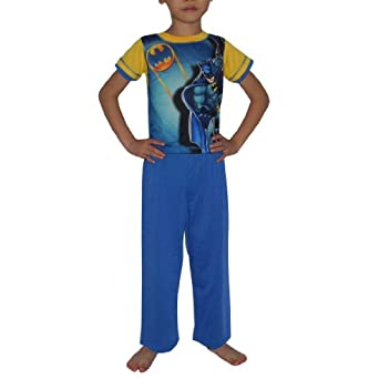2Pcs: BATMAN Boys Sleepwear Pajama Top & Pants Set 3T Blue & Yellow