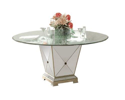 Bassett Mirror Borghese Mirrored Pedestal Dining Base, Antique Mirror/Silver (Mirrored Pedestal compare prices)