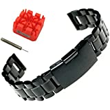 Ritche 24mm Stainless Steel Bracelet Watch Band Strap Straight End Solid Links Color Black